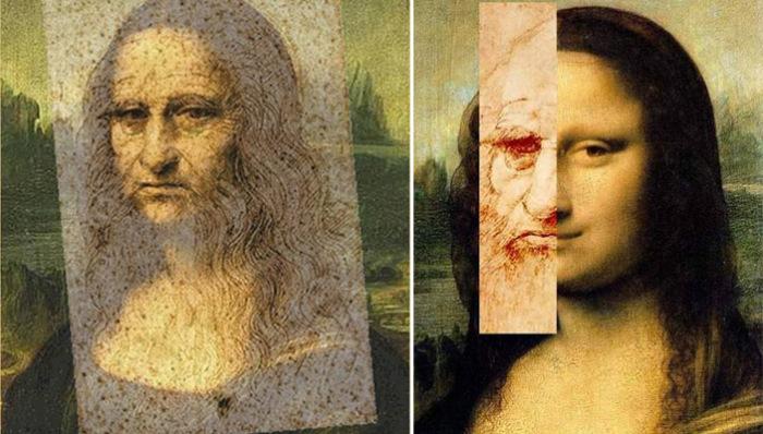 Графические попытки доказать теорию о том, что Джоконда – автопортрет Леонардо да Винчи