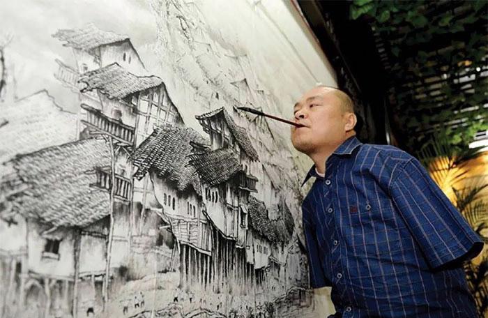 Хуан Гофу – безрукий художник из Китая