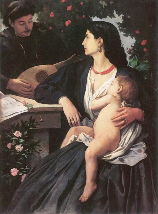 Ансельм фон Фейербах, Игра на мандолине (портрет Анны Ризи)