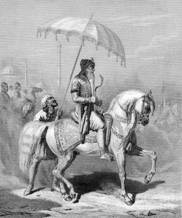 Махараджа Пенджаба Ранджит Сингх на гравюре XIX века (Индия)