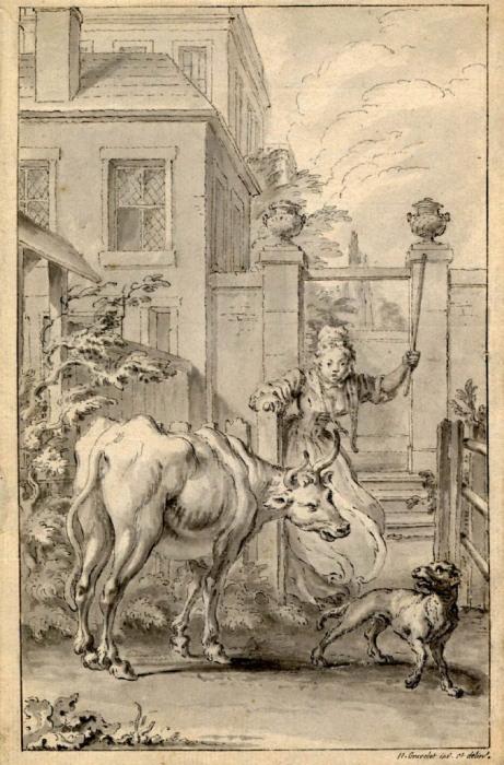 Иллюстрация к басне «Кухарка, вертельная собака и вол» Джона Гея (1738 г.)