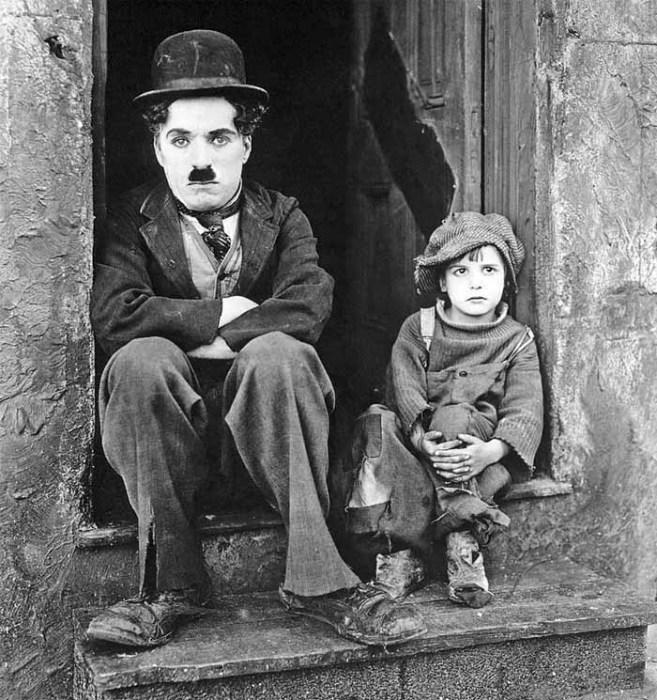Чарли Чаплин и Джеки Куган на съемках фильма «Малыш»