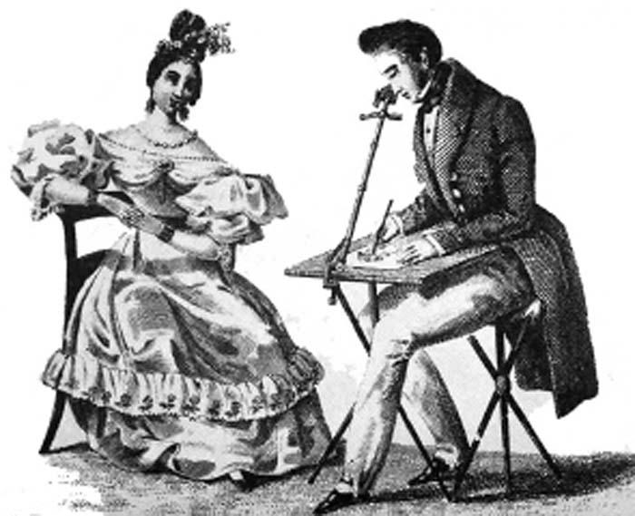 Рисование портрета при помощи камеры-люциды, 1807 г.