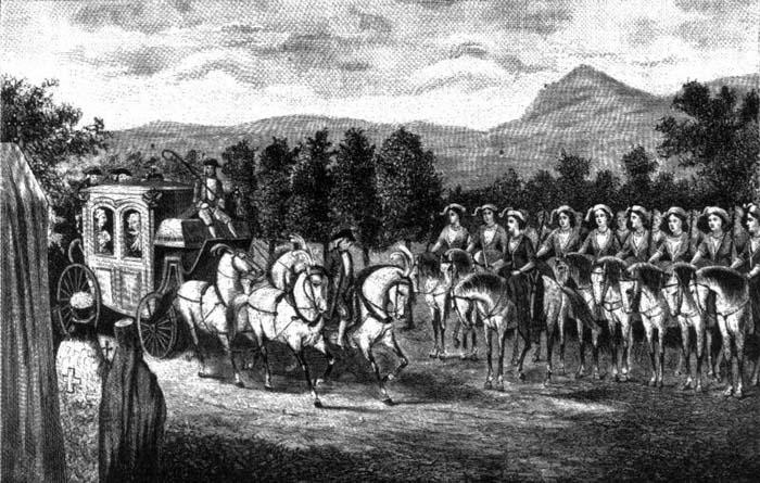 Амазонская рота встречает императрицу Екатерину II в Крыму. Капитан Сарондова верхом на коне на первом плане