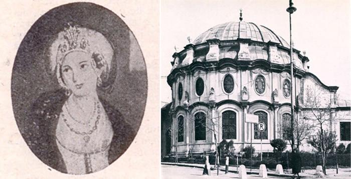 Сохранившееся изображение Накшидиль Валиде-султан  и ее гробница в мечети Фатих, Стамбул