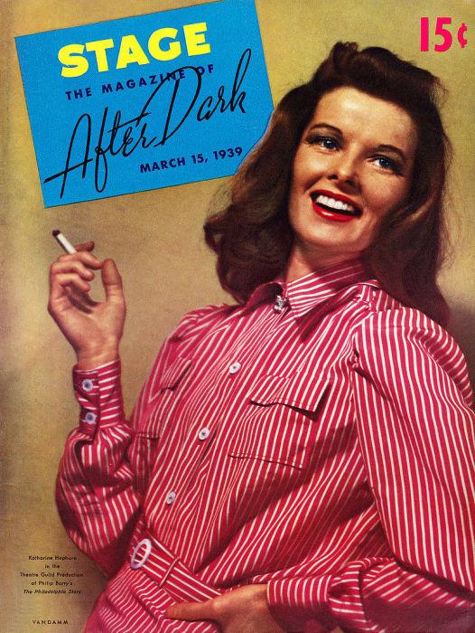 Кэтрин Хепбёрн на театральном плакате выпуска в Бродвейской постановке «Филадельфийская история» 1939, год