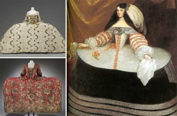 Гигантские платья вошли в моду в XVIII веке