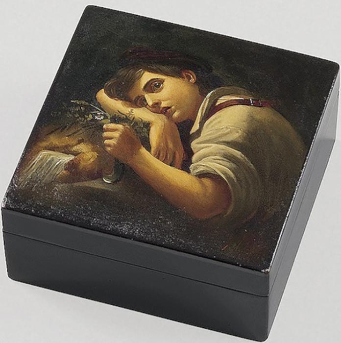 Коробочка с изображением отдыхающего садовника (с оригинала О.А. Кипренского). Середина XIX в.