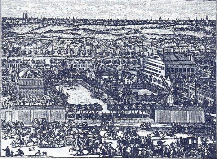 Немецкая слобода в конце XVII века. Гравюра А. Шхонебека и его учеников, 1705 г.