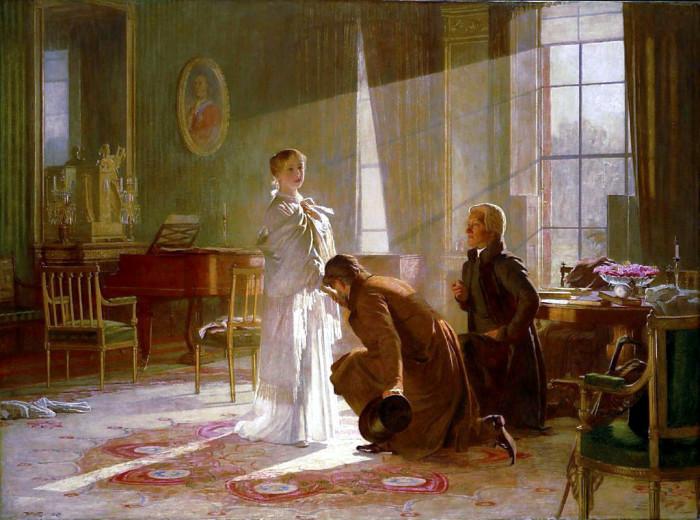 Виктория получает весть о том, что стала королевой, от лорда Конингема и архиепископа Кентерберийского