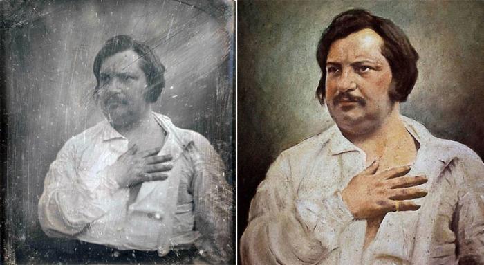 Оноре де Бальзак - дагерротип 1842 года и портрет, написанный на его основе