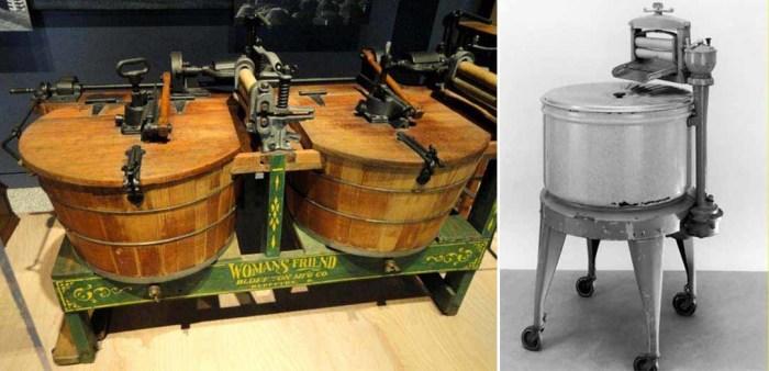 Старинная стиральная машина и электрическая стиральная машинка 1927 года