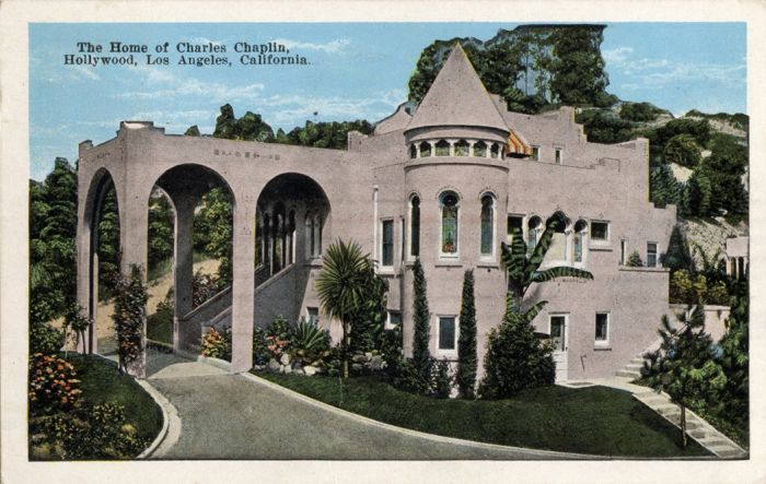 Открытка «Дом Чарли Чаплина, Голливуд, Лос-Анджелес, Калифорния»