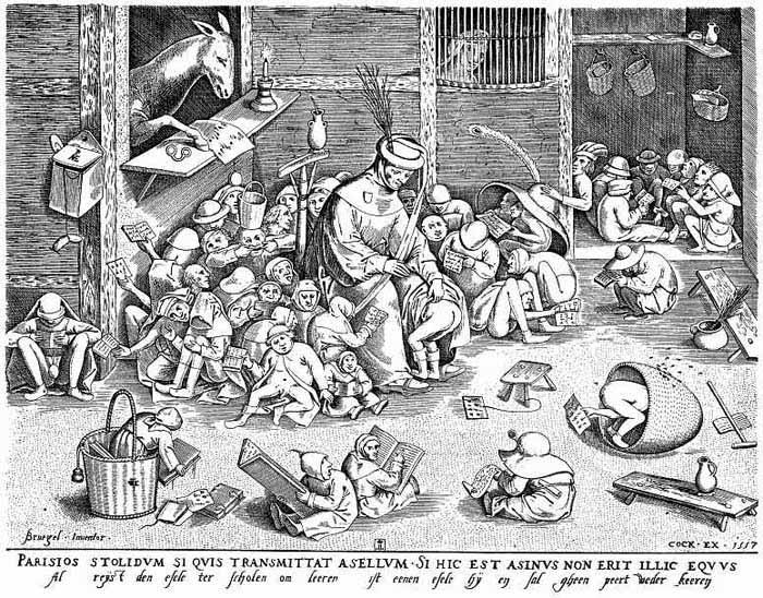 Питер Брейгель Старший, «Осел в школе (Тупица)», 1556 г.