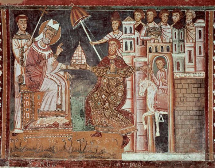 Фреска на стенах капеллы Св. Сильвестра в римском храме Sancti Quattrocoronati. Император Константин передает фригий (тиару) Сильвестру, (предп. 1246 г.). Человек сбоку держит папский зонт.