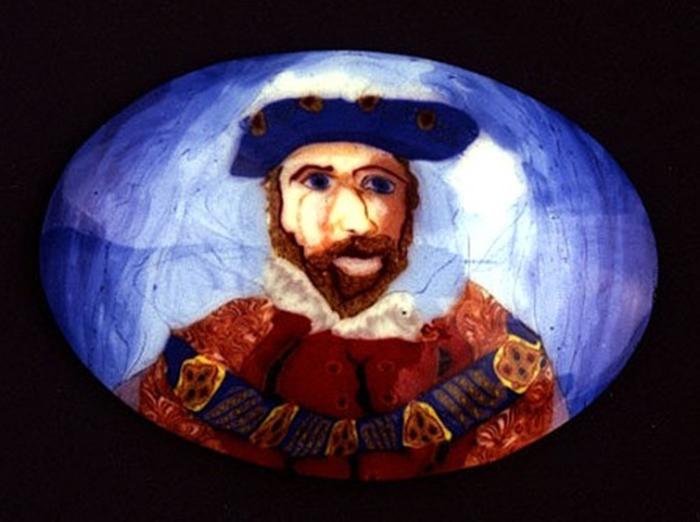 Лорен Стамп, муррина  с портретом Генриха VIII Тюдора — короля Англии и Ирландии
