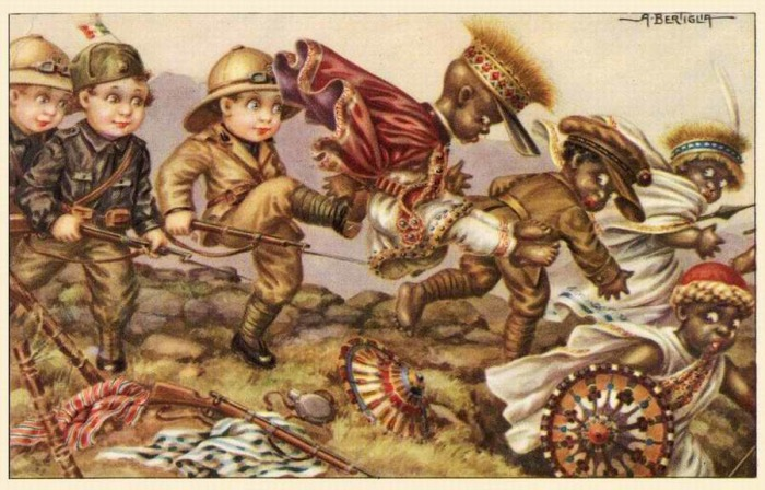 Серия итальянских открыток «Bambini coloniali» (1936 г.), художник Aurelio Bertiglia
