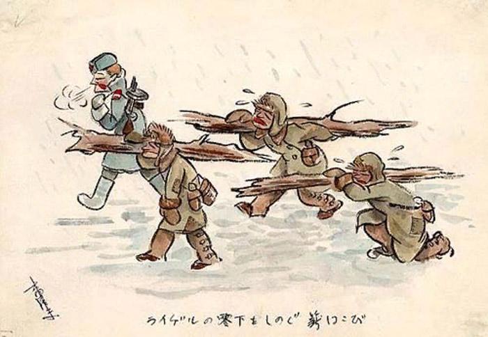 … мы работали под конвоем советских солдат. Многим досталось в тот день. Я тоже в тот день был на волоске от смерти, когда сорвался с обрыва. Меня, сломленного несчастной судьбой, поддержали мои друзья. Когда я пришел в себя, я подумал: «Неужели здесь мне суждено умереть?!»