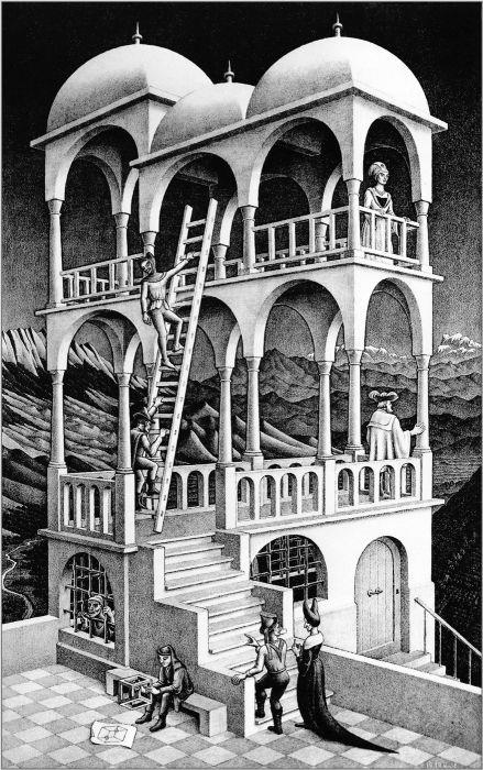 «Бельведер» (Мауриц Эшер, 1958 г.). Если присмотреться, на этом рисунке можно найти ряд абсурдных деталей, невозможных на самом деле.