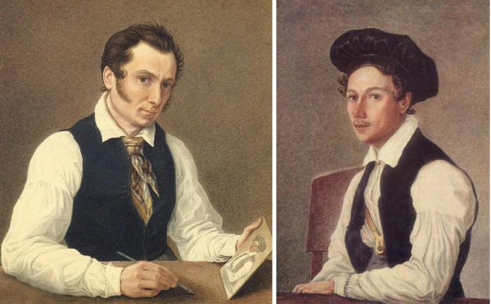 Братья Бестужевы, Николай и Михаил, автопортрет и портрет акварелью кисти Николая Бестужева, 1830-е годы (написаны в ссылке)