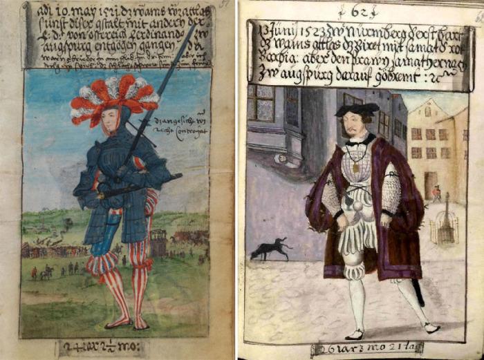 Маттеус Шварц в головном уборе c перьями 10 мая 1521 года / Маттеус Шварц в 29 лет