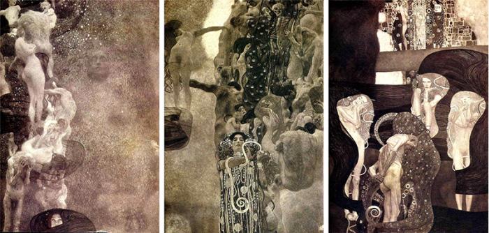 Густав Климт. Факультетские картины Философия, Медицина и Юриспруденция. К сожалению, полотна были уничтожены в 1945 году, и теперь мы можем судить о них только по черно-белым снимкам.