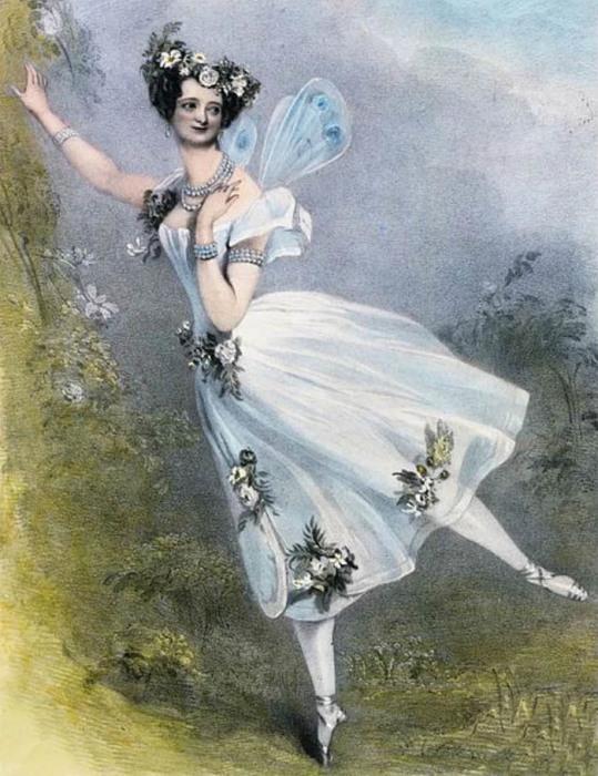 Мария Тильони в балете «Зефир и Флора». На балерине первая в мире балетная пачка.
