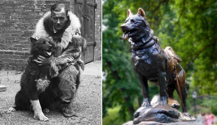 Гуннар Каасен вместе с Балто и памятник в честь пса-героя