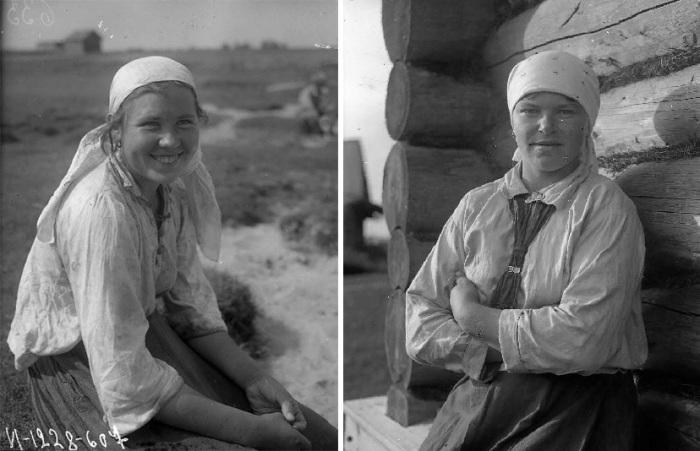 Беликов А.А., Фотографии рыбачек, Карелия, Олонецкий р-он, Коткозеро д. (Коткозеро). 1927г.