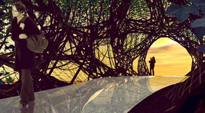 Футуристическое представление о возможных домах-деревьях будущего от немецких архитекторов (иллюстрации Entwicklungsgesellschaft für Baubotanik, Ferdinand Ludwig/Der Spiegel)