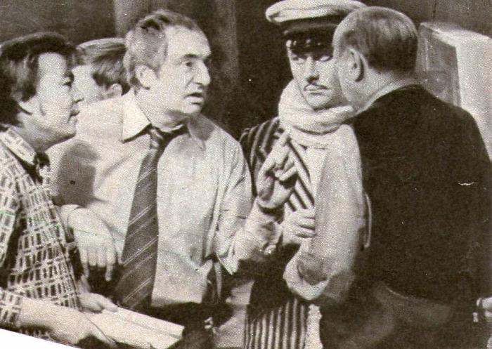 Андрей Миронов, Анатолий Папанов и Марк Захаров на съемках фильма «12 стульев», 1975 г.