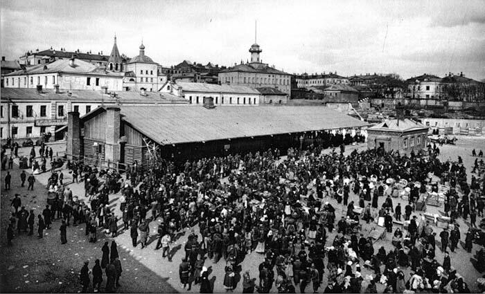 Биржа труда и Городская народная столовая на Хитровской площади, 1917 год