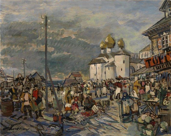 К. Коровин, Рынок во Пскове