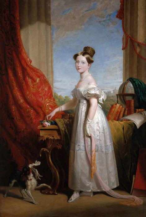Виктория с её спаниелем Дэшем, 1833 год, портрет кисти Джорджа Хейтера