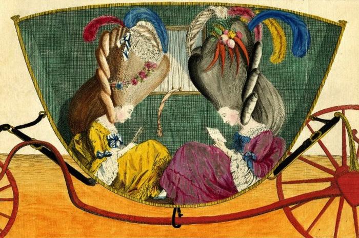 Лицом к лицу, или Дамский курятник. Английская карикатура. 1776 год
