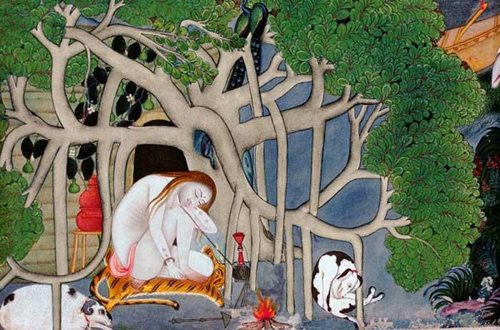 Индуистский аскет перед пещерой. Индия, XVIII век.