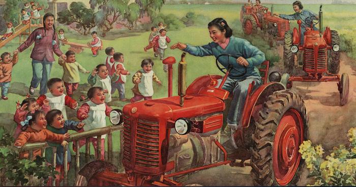 Девушки-трактористки – частый сюжет китайских плакатов середины XX века