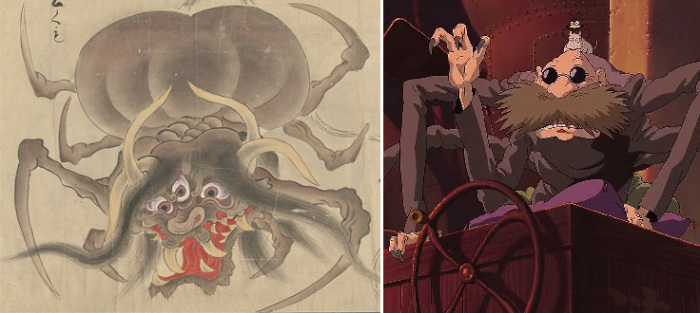 Изображение Цутигумо из свитка, ок 1700 года, и кадр из м/ф «Унесенные призраками»