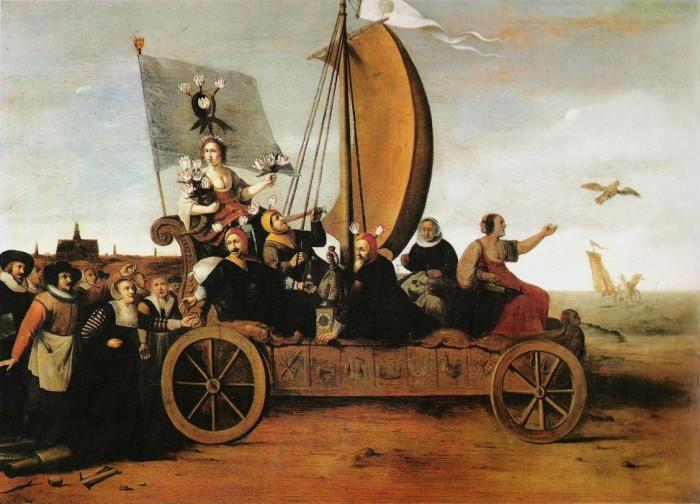 Гендрик Пот, «Колесница Флоры», (около 1640 года). Аллегорическая картина, высмеивающая простаков-спекулянтов. Повозка с богиней цветов и её спутниками в шутовских колпаках с тюльпанами катится под уклон в пучины моря. За ней бредут ремесленники, забросившие орудия своего труда в погоне за лёгкими деньгами