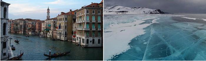 Канал в Венеции и замерзший Байкал – исходные снимки для фотомонтажа