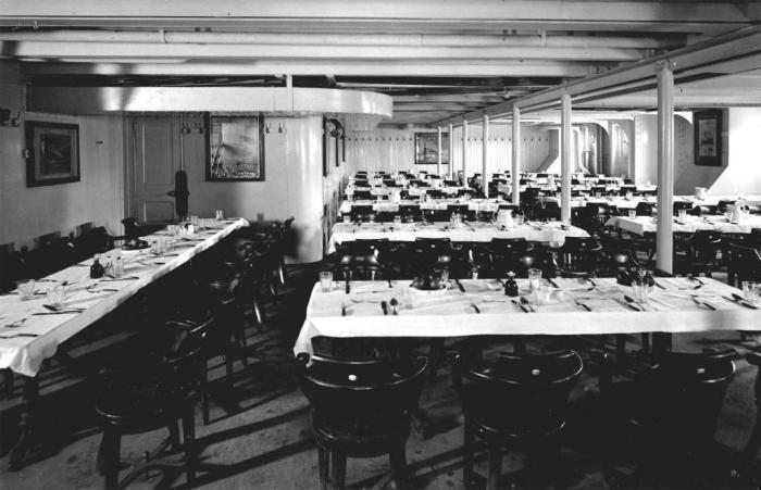 Столовая для пассажиров 3 класса на Титанике