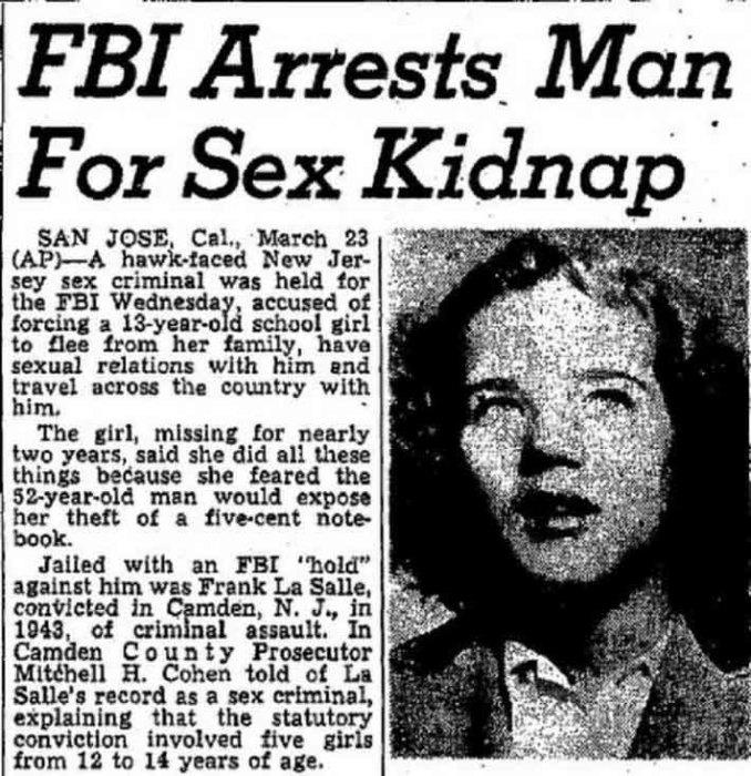 Газетная статья о похищении Салли Хорнер