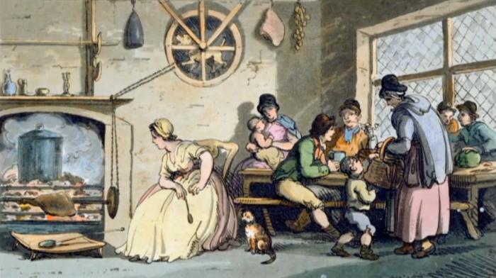 Работа вертельной собаки на иллюстрации Т. Роулендсона к книге Генри Уигстеда «Заметки о поездке в Северный и Южный Уэльс в 1797 г.