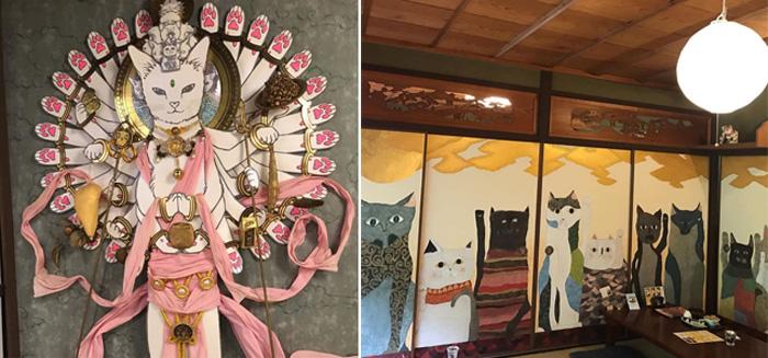 Интерьеры кошачьего храма выдержаны в одном стиле