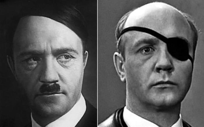 Ленид Куравлев в гриме Гитлера и Айсмана для фильма «17 мгновений весны»