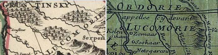 Фрагменты карт Московии и Татарии, составленные в 1685 и 1706 году