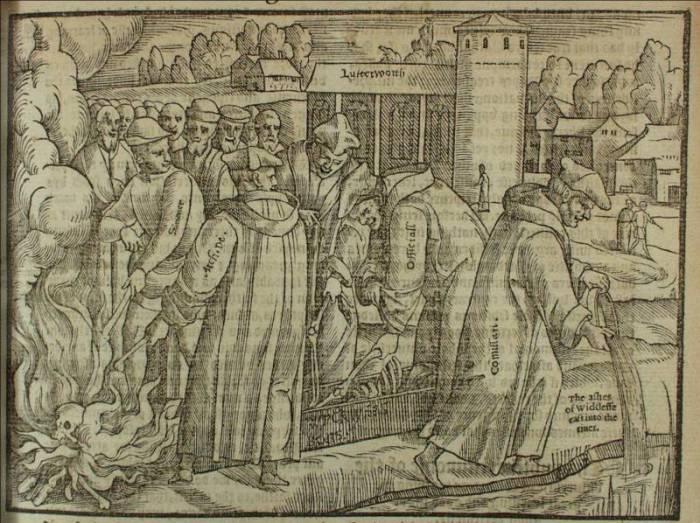 """""""Сжигание костей Джона Уиклифа"""", гравюра из книги Foxe's Book of Martyrs (1563 г.)"""