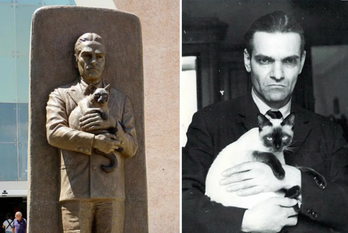 Памятник Юрию Кнорозову в Мексике и фотография с кошкой Асей