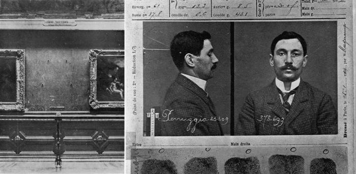 Пустая стена, где висела «Мона Лиза» (после похищения в 1911 году) и лист из уголовного дела похитителя Винченцо Перуджа