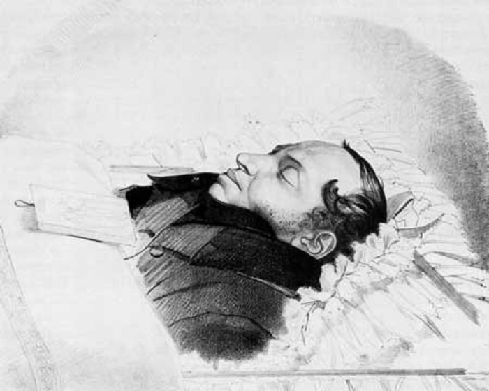 Посмертный рисунок Ф. А. Бруни «Пушкин во гробе»